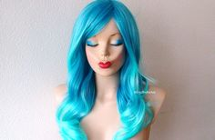Aqua Blue Ombre wig. Long curly hairstyle Durable Heat resistant synthetic wig for daytime use or cosplay.
