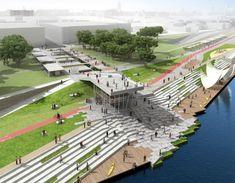 Zdjęcie numer 1 w galerii - architekci planują: water walks ландшафтная арх Landscape And Urbanism, Landscape Architecture Design, Landscape Plans, Urban Landscape, Parque Linear, Urban Park, Urban Planning, Outdoor, Garden Landscaping