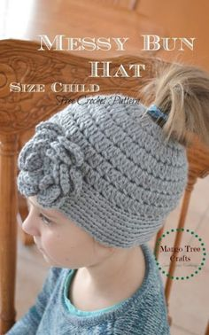 18 Free Messy Bun Hat Crochet Patterns - Make Your Own Ponytail Beanie in sizes from toddler to adult. A winter hat for messy mom buns - keep warm/look cool