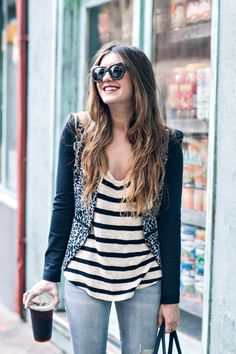 New York City Fashion and Personal Style Blog: Printed blazer, striped tee, distressed denim, strappy sandals