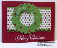 Christmas Holiday Wreath - One of my September Christmas Card Club cards.  CASED from Linda Aarhus and played with the papers and designs until I got one I liked.