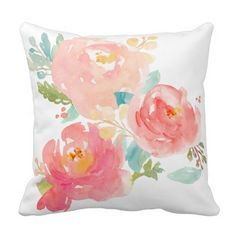 Peonies Summer Bouquet Watercolor Pastel Throw Pillows