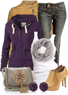 Pops of purple in a casual yet stylish outfit.