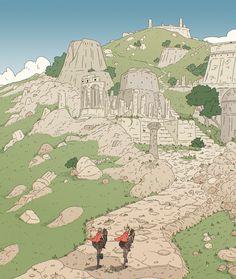 Ithya page Dorian Cottereau Landscape Illustration, Illustration Art, Fantasy World, Fantasy Art, Graphic Novel Art, Architecture Concept Drawings, Learn Art, Environment Concept Art, Fantasy Inspiration