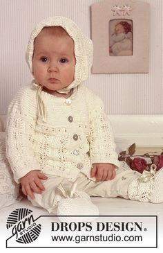 Little Josefine / DROPS Baby 11-17 - Cardigan, bonnet et bottons DROPS en Safran