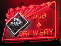 Located downstairs off the street level. The Pike is a awesome set up with great beer to drink.