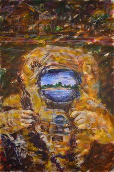 "Yury Ermolenko, ""Local diver"", ( ""METAPHYSICAL LANDSCAPE OF KANIV"" project ) 2010, acrylic on canvas, 225x150 cm. #YuryErmolenko #юрийермоленко #ЮрийЕрмоленко #живопись #yuryermolenko #acrylic #picture #painting #art #fineart #contemporaryart #modernart #inspiration #amazing #impressive #expressive #wonderful #colorful #texture #RapanStudio #exhibition #psychedelic #metaphysics #metaphysical #kaniv #cовременноеискусство #secret #mystery #diver #картина #portrait #artwork #выставка"