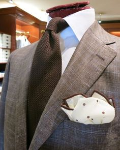 "Viola Milano ""Brown"" grenadine tie & Viola Milano ""White/Brown"" pocket square."