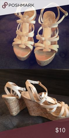 Tan wedge sandals Size 9.5 slightly worn a handful of times Shoes Sandals