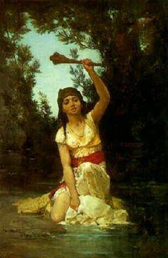 Algérie - Peintre Français Gustave Achille Guillaumet (1840-1887) - Huile sur toile , Titre : Femme du douar à la rivière.