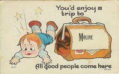 Moline Kansas Greetings Postcard Boy Suitcase by VintageBarrel, $5.75