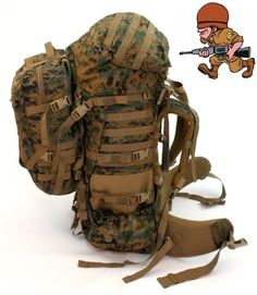GEN 2 USMC MARPAT ILBE Main Pack, Straps, Belt, Lid, Pouch, Assault Pack- Used