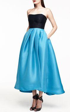 Monique Lhuillier Color-Block Gazar Strapless Dress by Monique Lhuillier - Moda Operandi
