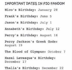 Nico's is right around mine...Mine is January 21! And my brothers is a day after Percy! The day of the greek gods! The 7th is my ex best friends birthday! Wow, ok! ****I found Leo's on another post this board****