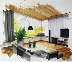 Home Decoration Cheap Ideas Interior Architecture Drawing, Interior Design Renderings, Drawing Interior, Interior Rendering, Interior Sketch, Interior Design Companies, Interior And Exterior, Architecture Design, Classical Architecture