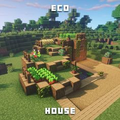 "Fresh Minecraft Builds on Instagram: ""Eco house! 🌱  I'm really proud of this design. 😍  Ps... (The vegan part is a joke XoXOx)"""
