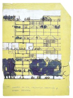 Alison and peter smithson, golden lane housing (project), 1952 desenho graf Architecture Panel, Architecture Student, Modern Architecture, Architecture Drawings, Alison And Peter Smithson, Section Drawing, Photoshop Projects, Architectural Section, Future City