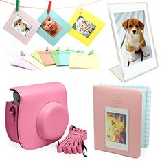 Fujifilm Instax Mini 8 Instant Camera Accessories Bundle [Includes: Pink Case, Shoulder Strap, Pink Photo Album, Clear Photo Stand for Instant Film Photos, Colorful Frames with Clips and Rustic Twine Rope for Hanging] Enobu http://www.amazon.com/dp/B00TXQJ4BS/ref=cm_sw_r_pi_dp_avffvb0Y94Y53