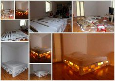 Palet bed with soft glowing floor night light