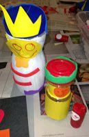 PICASSO'S BASEMENT's Russian Nesting dolls using peanut jar, a spice jar and a cork! Kids decorated them, painted them, gave them crowns. Then one fit right inside the other.