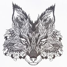 An awesome-looking fox design from Tattoo Designs, a creative colouring book for adults.:
