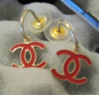 Chanel Red CC Earrings Gold Dangled Charm Classic New Authentic