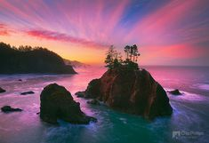 'Samuel Boardman Sunrise' - photo by Chip Phillips Photography;  rugged islands off shore seen at sunrise in Samuel Boardman state park on the Southern Oregon coast