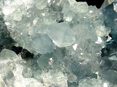 """""""Celestite"""" from Madagascar-1  Celestite is strontium sulfate.  The name is derived from the word, celestial, referring  to its faint blue color. Photo is copyright free for non-commercial educational uses.  Just credit photo to R.Weller/Cochise College."""