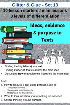 Senior English / ELA students.  A resource set to go for presentation, print or digital use.  Writing about: - key ideas - evidence - purpose  Enjoy! Literacy Strategies, Formative Assessment, Close Reading, Reading Activities, Differentiation, High School Students, Teaching Tips, Task Cards, Critical Thinking