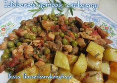 Zöldborsós-gombás csirkeragu recept foto