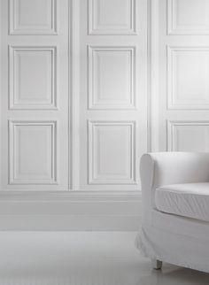 White panelling wallpaper~ Tromp L'oeil by Young & Battaglia