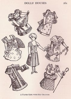 """1907 Girl Paper Doll with Clothes. From the book """"What Shall We Do Now? 500 Children's Games and Pastimes"""" by Dorothy Canfield and Others. The book was published by Frederick A. Stokes Company Publishers, New York in 1907. Page 261 The book is in the public domain and all images should be copyright free."""