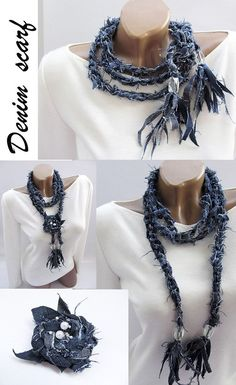 Your place to buy and sell all handmade things - scarf necklace . - Your place to buy and sell all handmade things – scarf necklace - Scarf Necklace, Scarf Jewelry, Fabric Jewelry, Moon Necklace, Diy Necklace, Crystal Necklace, Tassel Necklace, Diy Jewelry Rings, Diy Jewelry Making