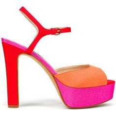 Neon Canvas Platform Sandal (€88) ❤ liked on Polyvore featuring shoes, sandals, heels, scarpe, zapatos, women, platform shoes, neon canvas shoes, heeled sandals and fluorescent shoes