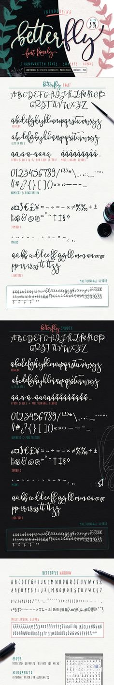 BetterFly is handwritten modern script family with numerous alternates. It is opentype! It is smart and it is working in Photoshop! You are welcome to use it for various purposes: logo,