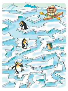 Esquimal y pinguinos Snow Pictures, Hidden Pictures, Penguin Illustration, Eskimo, Polar Animals, Cicely Mary Barker, Picture Puzzles, Educational Toys For Kids, Animal Projects