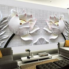 Shinny Leather Effect Large Mural Wallpaper 3D Lotus Art Wall Decor for Living Room TV Soaf Background - AUD $64.34