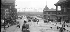 39th Street Ferry building, South Street towards Brooklyn Bridge circa 1910's, Brooklyn Bridge in the background.