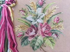 Needlepoint Kits, Needlepoint Canvases, Floral Chair, Seat Covers For Chairs, Large Cushions, Stitch Kit, Photo Canvas, Floral Bouquets, Vintage Prints