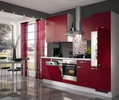 Kitchen Small Space Contemporary Kitchen Design Ideas Stainless Steel Range Hood Mosaic Glass Tile Backsplash Single Built In Oven Maroon Cabinet Modern Refrigerator White Dining Table Matching Dishwasher 18 Contemporary Kitchen Design