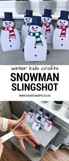 Snowman craft - snowman slingshot game, easy Christmas kids crafts