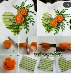 Salad Decorations – Yemek ve Pasta Süslemeleri – Veggie Art, Fruit And Vegetable Carving, Vegetable Recipes, Amazing Food Decoration, Deco Fruit, Comida Diy, Vegetable Decoration, Creative Food Art, Food Garnishes