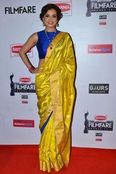 Dia Mirza yellow and blue silk saree Blue Silk Saree, Yellow Saree, Silk Sarees, Indigo Saree, Blouse Designs High Neck, Silk Saree Blouse Designs, Blouse Patterns, Dia Mirza, Indian Attire
