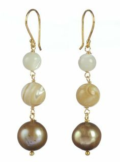 Gold Plated Sterling Silver White and Natural Mother-Of-Pearl with Champagne Freshwater Cultured Pearl Linear Drop Earrings Amazon Curated Collection. $19.00. Do not use cleaning solvents.  Wipe gently with a soft, dry cloth.