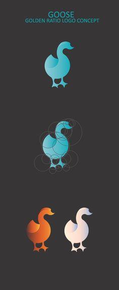 Goose logo design using golden ratio teqnique