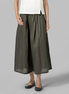 PLUS Clothing - Linen Pleated Culottes