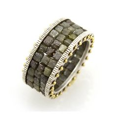 18K Gold and Sterling Silver Ring Composed of Raw Diamond Beads