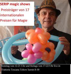 Freitags von 17 bis 22 Uhr und Sonntags von 12 bis 21 Uhr SERIP magic shows live in der Trattoria Toscana Teltow, Iserstr. 8-10, Tel.: 03328-3565951.