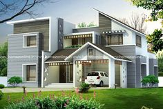 Are you looking for a modern house ? Today we are introdusing a nice house design with a beautiful 3D elevation. This house have 4 bedroom Kerala House Design, Unique House Design, House Front Design, Cool House Designs, Home Design Floor Plans, Home Building Design, Building A House, Facade Design, Exterior Design