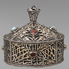 Iran | Crown; silver, with openwork, decorative wire, and slightly domed and tablecut carnelians and turquoises; cotton foundation | 20th century | Metropolitan Museum of Art Collection